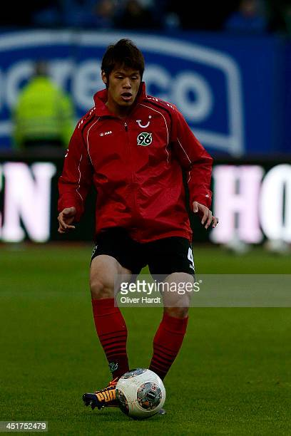 Hiroki Sakai of Hannover in action before during the Bundesliga match between Hamburger SV and Hannover 96 at Imtech Arena on November 24 2013 in...
