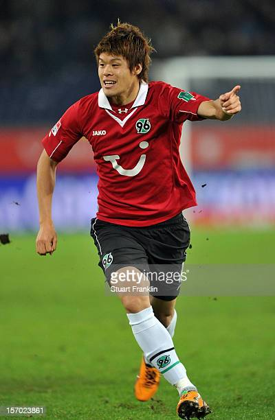 Hiroki Sakai of Hannover in action during the Bundesliga match between Hannover 96 and SpVgg Greuther Fuerth at AWD Arena on November 27, 2012 in...