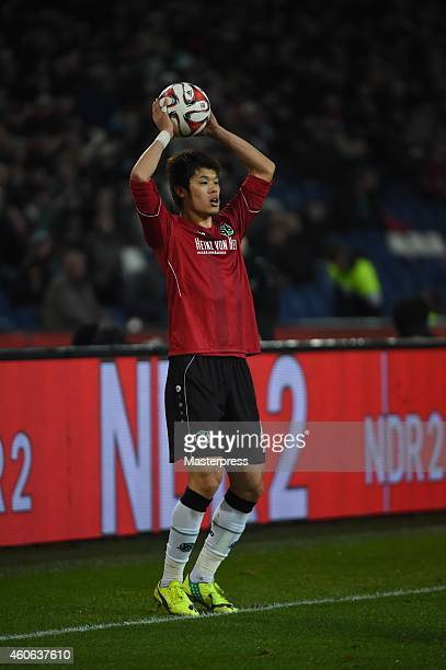 Hiroki Sakai of Hannover in action during the Bundesliga match between Hannover 96 and FC Augsburg at HDIArena on December 16 2014 in Hanover Germany
