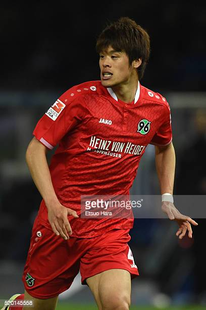 Hiroki Sakai of Hannover in action during the Bundesliga match between Hertha BSC and Hannover 96 at Olympiastadion on April 8 2016 in Berlin Germany