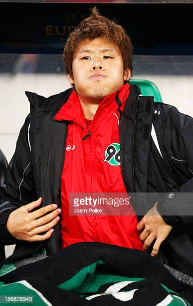 Hiroki Sakai of Hannover is seen on the bench prior to the UEFA Europa League Group L match between Hannover 96 and FC Twente at AWD Arena on...