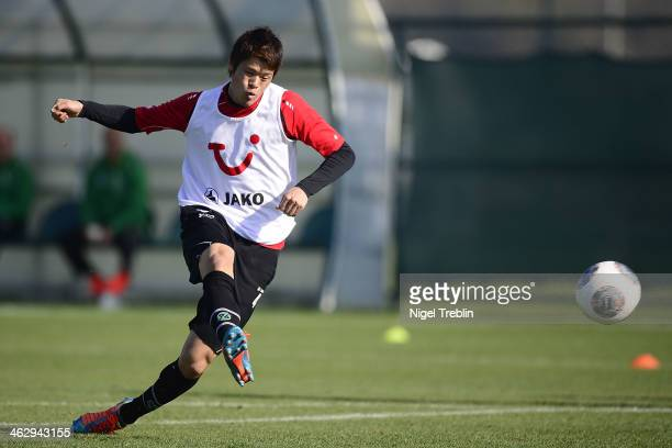 Hiroki Sakai of Hannover plays the ball during a training session of Hannover 96 training camp on January 15 2014 in Belek Turkey
