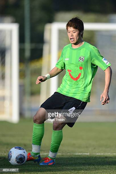 Hiroki Sakai of Hannover plays the ball during the last day of Hannover 96 training camp on January 17 2014 in Belek Turkey