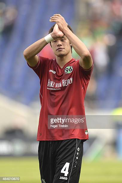 Hiroki Sakai of Hannover reacts after the Bundesliga match between FC Schalke 04 and Hannover 96 at HDIArena on August 23 2014 in Hanover Germany