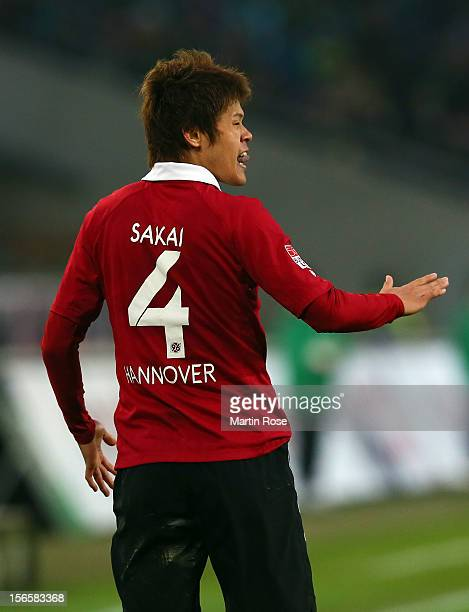 Hiroki Sakai of Hannover reacts during the Bundesliga match between Hannover 96 and SC Freiburg at AWD Arena on November 17, 2012 in Hannover,...