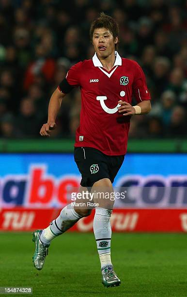 Hiroki Sakai of Hannover runs during the Bundesliga match between Hannover 96 and Borussia Moenchengladbach at AWD Arena on October 28, 2012 in...