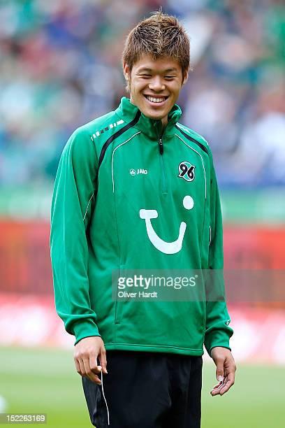 Hiroki Sakai of Hannover smiles before the Bundesliga match between Hannover 96 and Werder Bremen at AWD Arena on September 15 2012 in Hannover...