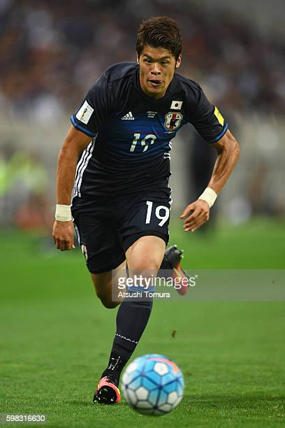 Hiroki Sakai of Japan in action during the 2018 FIFA World Cup Qualifier Final Round Group B match between Japan and United Arab Emirates at Saitama...