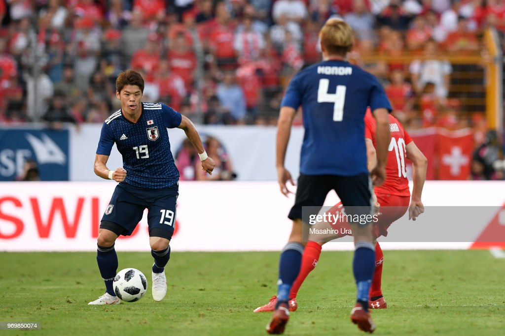 Hiroki Sakai of Japan in action during the international friendly match between Switzerland and Japan at the Stadium Cornaredo on June 8, 2018 in Lugano, Switzerland.