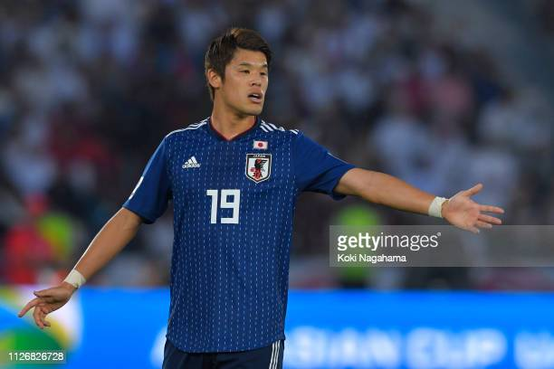 Hiroki Sakai of Japan looks on during the AFC Asian Cup final match between Japan and Qatar at Zayed Sports City Stadium on February 01, 2019 in Abu...