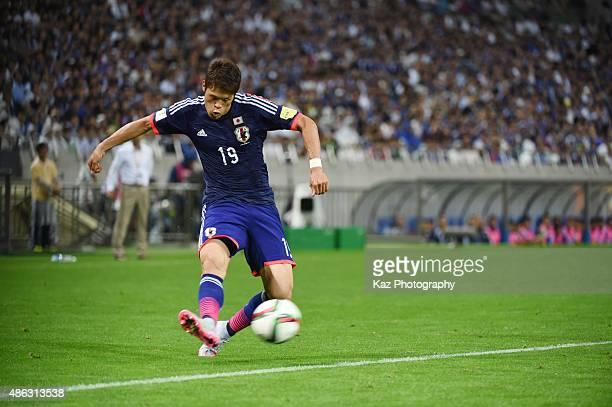 Hiroki Sakai of Japan sends the cross [action] during the 2018 FIFA World Cup Qualifier Round 2 Group E at Saitama Stadium on September 3 2015 in...