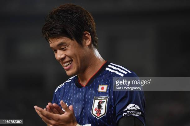 Hiroki Sakai of Japan, who assists the second goal, celebrates the goal during the international friendly match between Japan and Paraguay at Kashima...