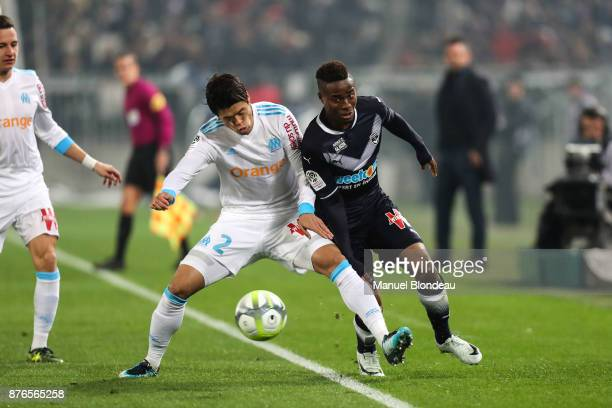 Hiroki Sakai of Marseille and Francoi Kamano of Bordeaux during the Ligue 1 match between FC Girondins de Bordeaux and Olympique Marseille at Stade...