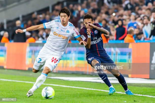 Hiroki Sakai of Marseille and Neymar jr of Paris during the Ligue 1 match between Olympique Marseille and Paris Saint Germain at Stade Velodrome on...