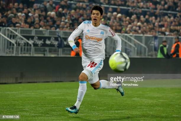 Hiroki Sakai of Marseille in action during the Ligue 1 match between FC Girondins de Bordeaux and Olympique Marseille at Stade Matmut Atlantique on...