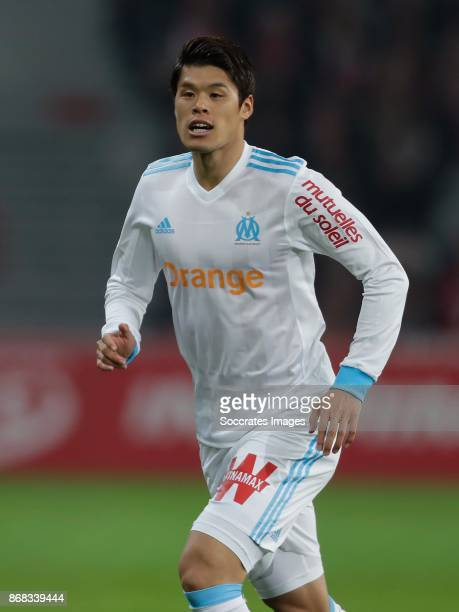 Hiroki Sakai of Olympique Marseille during the French League 1 match between Lille v Olympique Marseille at the Stade Pierre Mauroy on October 29...
