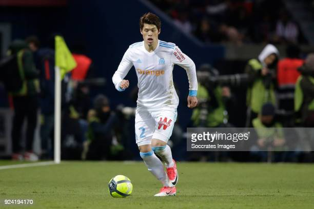 Hiroki Sakai of Olympique Marseille during the French League 1 match between Paris Saint Germain v Olympique Marseille at the Parc des Princes on...
