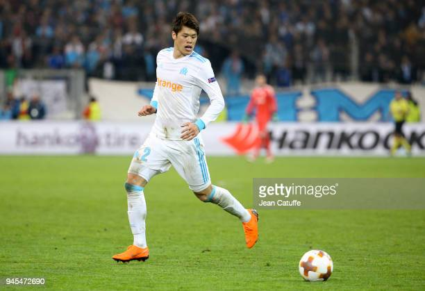 Hiroki Sakai of OM during the UEFA Europa League quarter final leg two match between Olympique de Marseille and RB Leipzig at Velodrome stadium on...