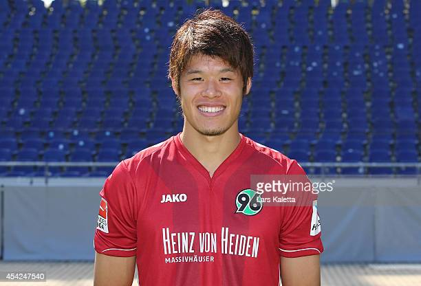 Hiroki Sakai poses during the team presentation of Hannover 96 at HDIArena on August 27 2014 in Hanover Germany