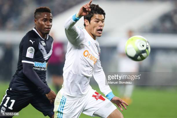 Hiroki Sakaiof Marseille and Francois Kamano of Bordeaux during the Ligue 1 match between FC Girondins de Bordeaux and Olympique Marseille at Stade...