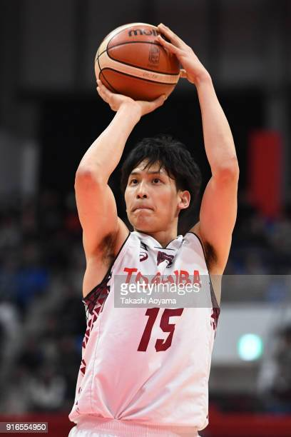 Hiroki Taniguchi of the Kawasaki Brave Thunders shoots a free throw during the BLeague match between Alverk Tokyo and Kawasaki Brave Thunders at the...