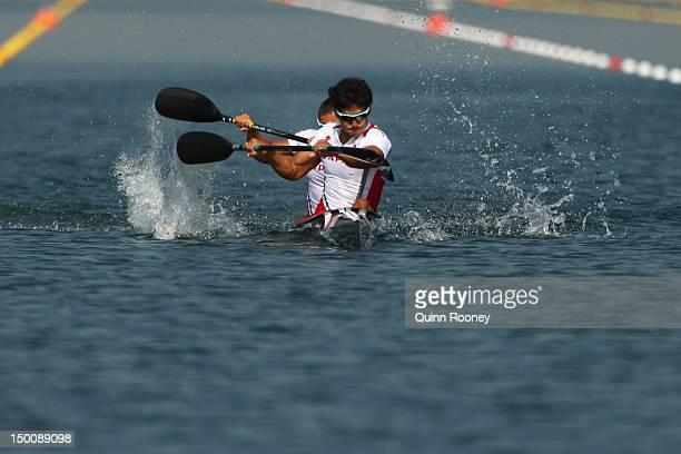 Hiroki Watanabe and Momotaro Matsushita of Japan compete in the Men's Kayak Double 200m Canoe Sprint heats on Day 14 of the London 2012 Olympic Games...
