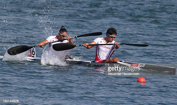 Hiroki Watanabe and Momotaro Matsushita of Japan compete in the Men's Kayak Double 200m Canoe Sprint Final B on Day 15 of the London 2012 Olympic...