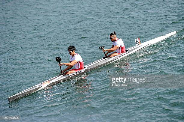 Hiroki Watanabe and Momotaro Matsushita of Japan warm up ahead of the Men's Kayak Double 200m Canoe Sprint on Day 15 of the London 2012 Olympic Games...