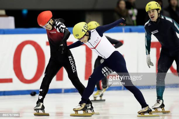 Hiroki Yokoyama and Kazuki Yoshinaga compete in the Men's 500m Final A during day one of the 40th All Japan Short Track Speed Skating Championships...