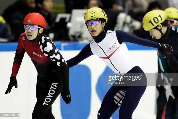 Hiroki Yokoyama and Kazuki Yoshinaga react after competing in the Men's 500m Final A during day one of the 40th All Japan Short Track Speed Skating...
