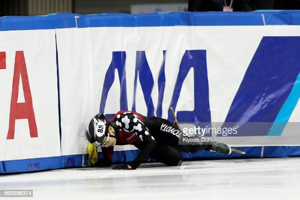 Hiroki Yokoyama crashes in the Men's 1000m Semifinal during day two of the 40th All Japan Short Track Speed Skating Championships at Nippon Gaishi...