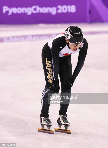 Hiroki Yokoyama of Japan reacts after the Men's 5000m Relay Short Track Speed Skating heat 2 on day four of the PyeongChang 2018 Winter Olympic Games...