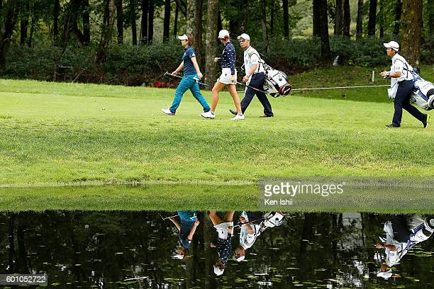 Hiroko Azuma and Aoi Ohnishi of Japan walk on the 8th hole during Rookies Camp of the second round of the 49th LPGA Championship Konica Minolta Cup...
