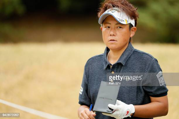 Hiroko Yamaguchi of Japan on the 2nd hole during the final round of the Hanasaka Ladies Yanmar Golf Tournament at Biwako Country Club on April 6 2018...