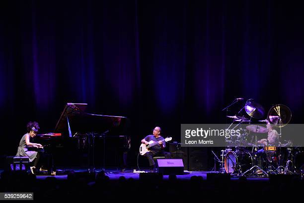 Hiromi Anthony Jackson and Simon Philips of Hiromi Trio perform on stage at Hamer Hall during the Melbourne International Jazz Festival 2016 on June...