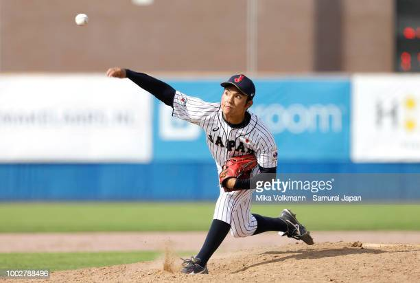 Hiromi Ito of Japan pitches in the 7th inning during the Haarlem Baseball Week game between Japan and Chinese Taipei at Pim Mulier Stadion on July 20...