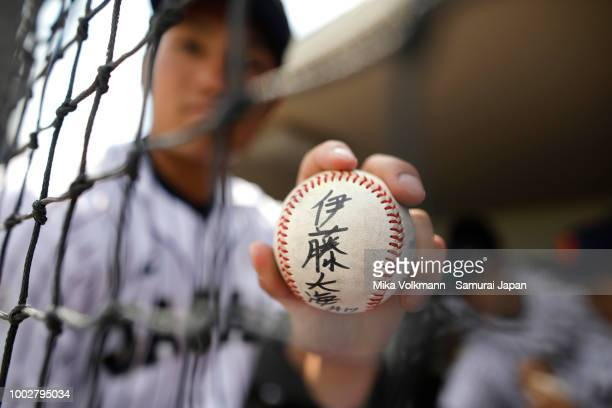 Hiromi Ito of Japan poses with a ball prior the Haarlem Baseball Week game between Japan and Chinese Taipei at Pim Mulier Stadion on July 20 2018 in...