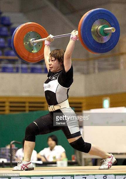 Hiromi Miyake competes in the 53kg class during the 25th All Japan Women's Weightlifting Championships at Saitama City Memorial Gymnasium on June 25,...