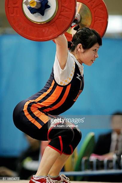 Hiromi Miyake, competes in the Women's -48kg during day one of the All Japan Weightlifting Championships at the Ishikawa Prefecture Industries...