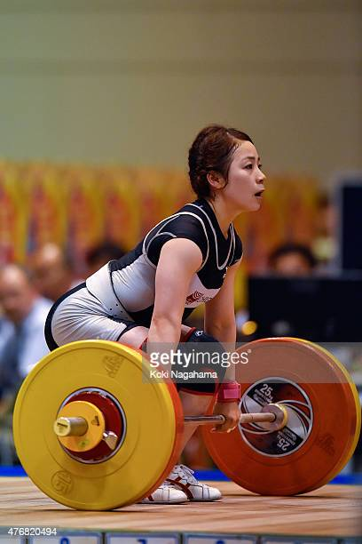 Hiromi Miyake competes in women's 53kg group during the All Japan Weight Lifting Championships 2015 at the General Gymnasium of Iwaki City on June...