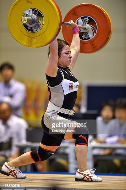 Hiromi Miyake competes in women's 53kg group during the All Japan Weight Lifting Championships 2015 at the General Gymnasium of Iwaki City on June 12...