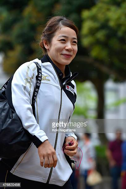 Hiromi Miyake looks on prior to women's 53kg group during the All Japan Weight Lifting Championships 2015 at the General Gymnasium of Iwaki City on...