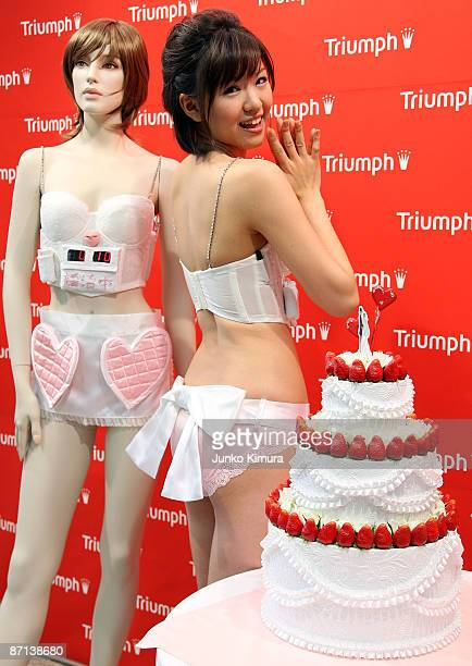 Hiromi Nishiuchi a model for lingerie maker Triumph International Japan displays the 'Husband Hunting Bra' at Tokyo Ryutsu Center on May 13 2009 in...