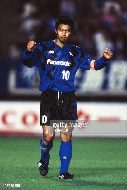 Hiromitsu Isogai of Gamba Osaka celebrates during the J.League Nicos Series match between Gamba Osaka and Jubilo Iwata at the Kobe Universiade...