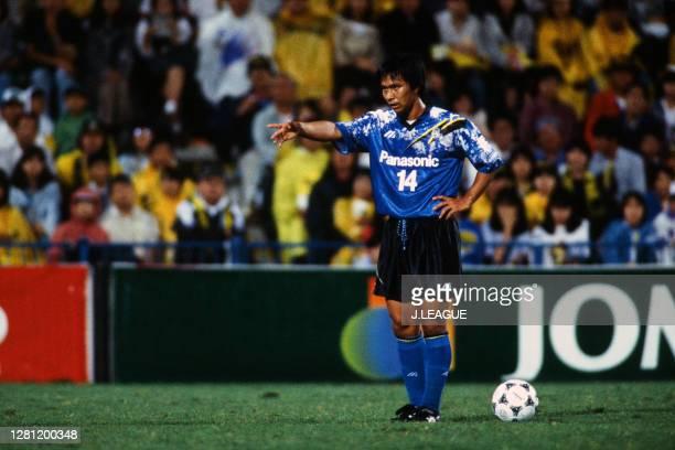 Hiromitsu Isogai of Gamba Osaka gestures during the J.League match between Kashiwa Reysol and Gamba Osaka at the Hitachi Kashiwa Soccer Stadium on...