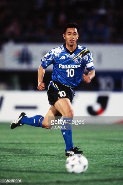 Hiromitsu Isogai of Gamba Osaka in action during the J.League match between Gamba Osaka and Avispa Fukuoka at the Expo '70 Commemorative Stadium on...