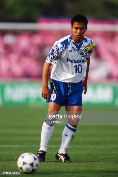Hiromitsu Isogai of Gamba Osaka in action during the J.League match between Cerezo Osaka and Gamba Osaka at the Osaka Nagai Second Athletic Stadium...