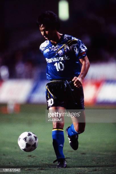 Hiromitsu Isogai of Gamba Osaka in action during the J.League match between Avispa Fukuoka and Gamba Osaka at the Hakata-no-Mori Stadium on September...