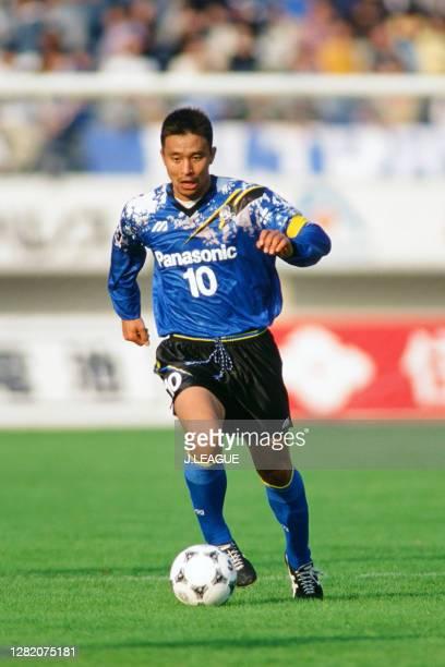 Hiromitsu Isogai of Gamba Osaka in action during the J.League match between Gamba Osaka and JEF United Ichihara at the Expo '70 Commemorative Stadium...