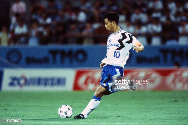 Hiromitsu Isogai of Gamba Osaka in action during the J.League Nicos Series match between Jubilo Iwata and Gamba Osaka at the Jubilo Iwata Soccer...